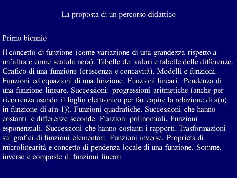 La proposta di un percorso didattico Primo biennio Il concetto di funzione (come variazione di una grandezza rispetto a unaltra e come scatola nera).