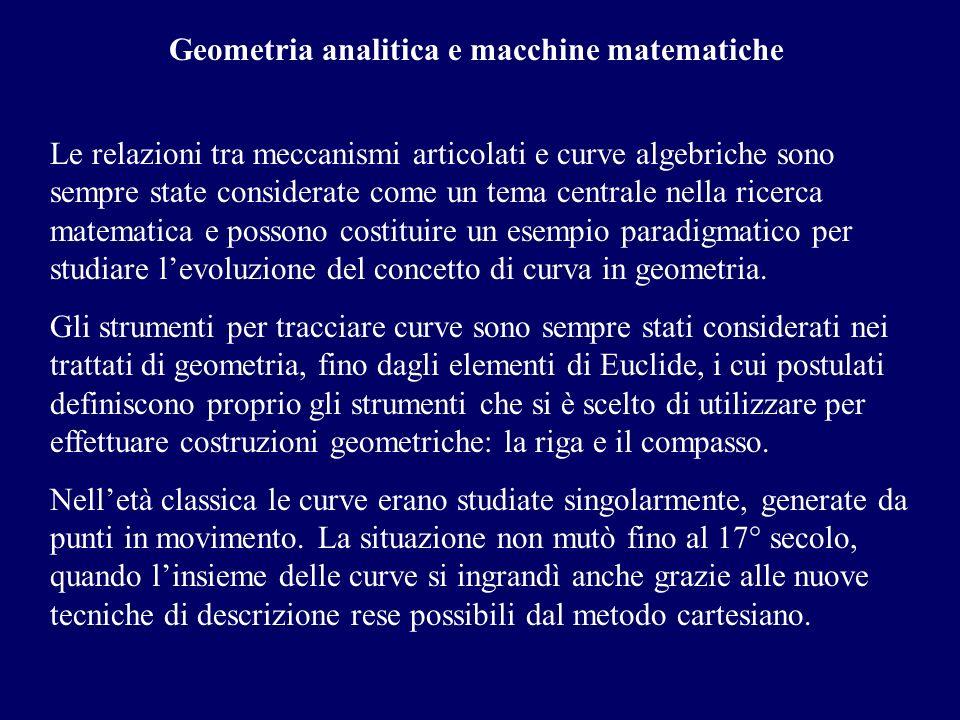 Geometria analitica e macchine matematiche Le relazioni tra meccanismi articolati e curve algebriche sono sempre state considerate come un tema centra