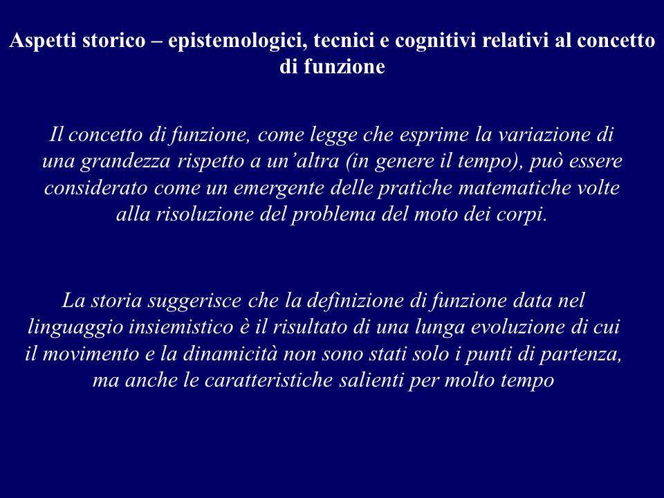 Aspetti storico – epistemologici, tecnici e cognitivi relativi al concetto di funzione Il concetto di funzione, come legge che esprime la variazione d