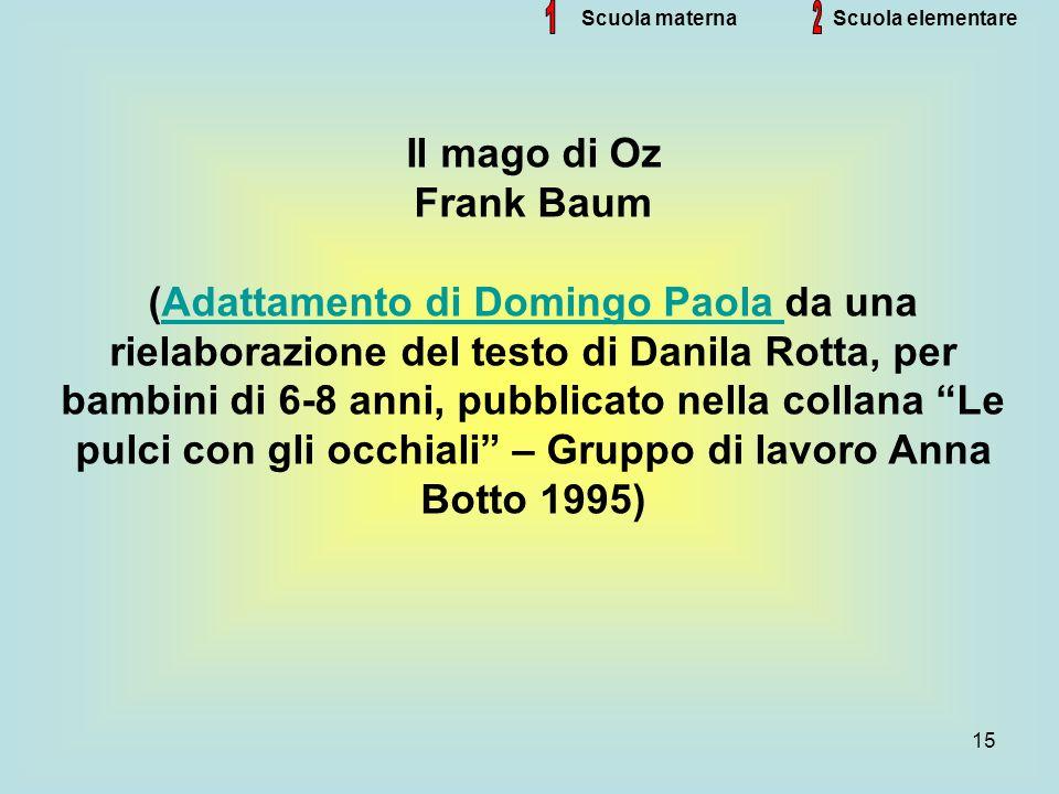 15 Scuola materna Il mago di Oz Frank Baum (Adattamento di Domingo Paola da una rielaborazione del testo di Danila Rotta, per bambini di 6-8 anni, pub