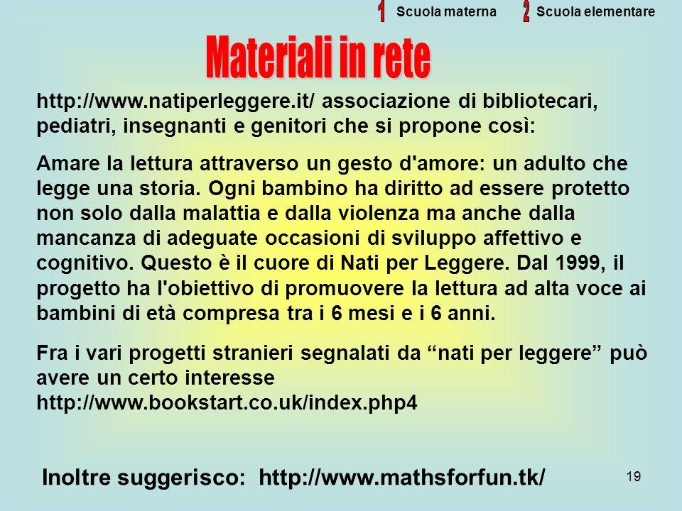 19 Scuola materna http://www.natiperleggere.it/ associazione di bibliotecari, pediatri, insegnanti e genitori che si propone così: Amare la lettura at