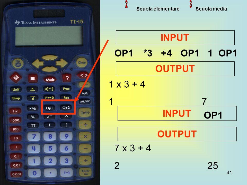 41 Scuola elementare Scuola media OP1*3+4OP11 INPUT OUTPUT 1 x 3 + 4 1 7 7 x 3 + 4 2 25 INPUT OP1 OUTPUT