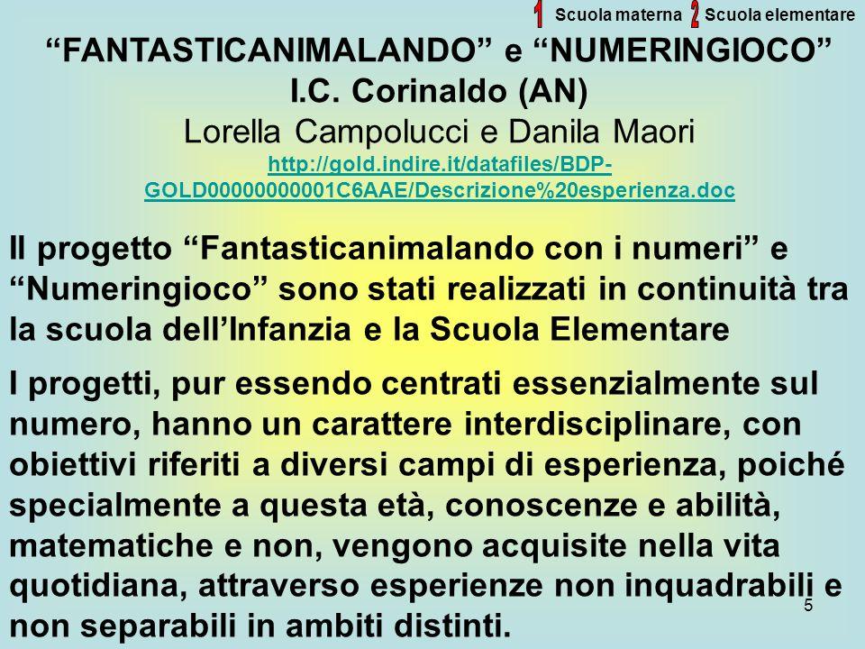 5 Scuola materna FANTASTICANIMALANDO e NUMERINGIOCO I.C. Corinaldo (AN) Lorella Campolucci e Danila Maori http://gold.indire.it/datafiles/BDP- GOLD000