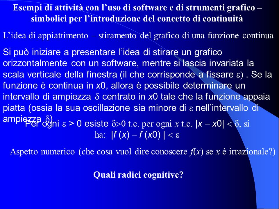 Esempi di attività con luso di software e di strumenti grafico – simbolici per lintroduzione del concetto di integrale (definito) Lidea è quella di utilizzare la nozione di area per aiutare la comprensione dellintegrazione secondo Riemann.