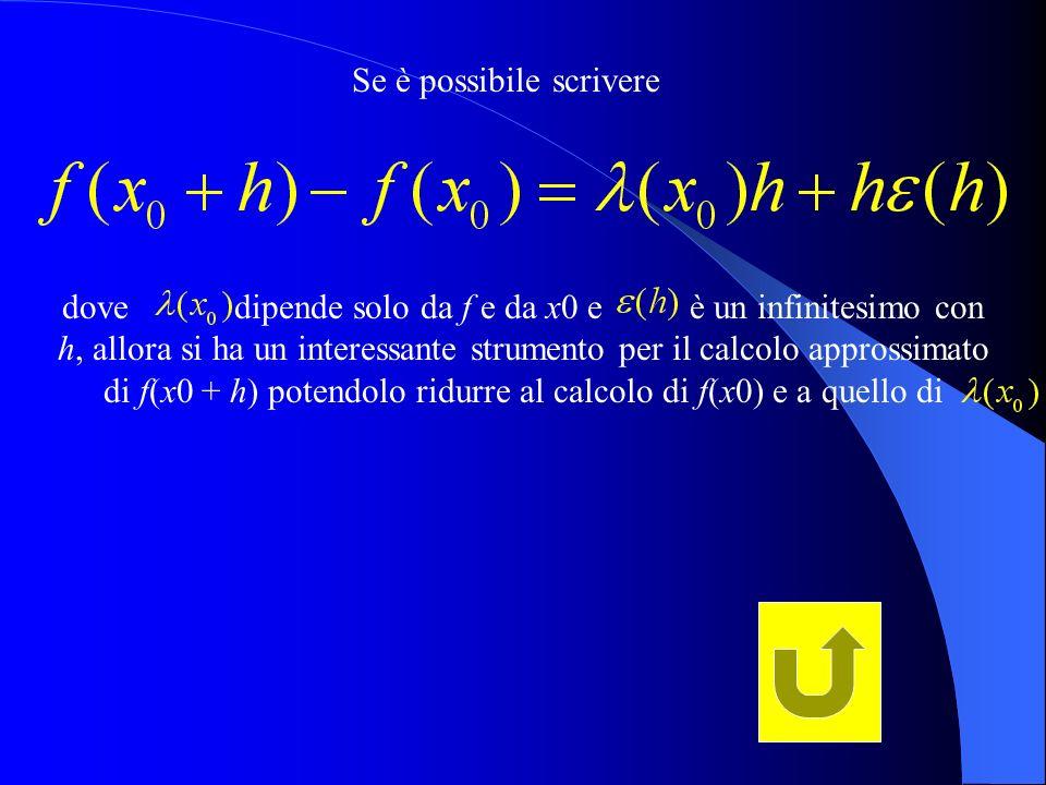 Se è possibile scrivere dove dipende solo da f e da x0 e è un infinitesimo con h, allora si ha un interessante strumento per il calcolo approssimato d