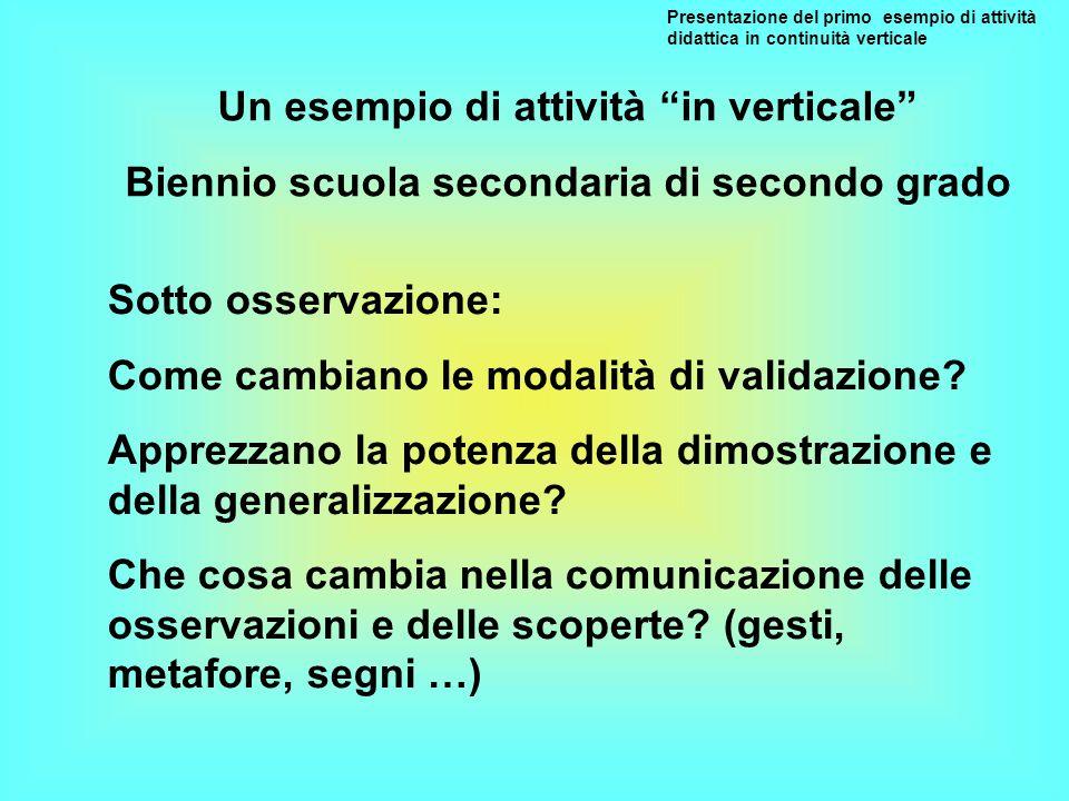 Presentazione del primo esempio di attività didattica in continuità verticale Sotto osservazione: Come cambiano le modalità di validazione? Apprezzano