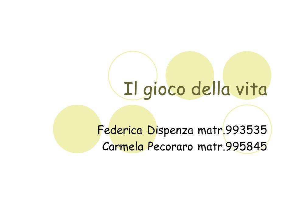 Il gioco della vita Federica Dispenza matr.993535 Carmela Pecoraro matr.995845
