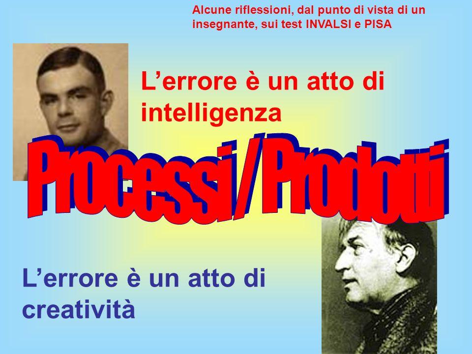 Lerrore è un atto di intelligenza Lerrore è un atto di creatività Alcune riflessioni, dal punto di vista di un insegnante, sui test INVALSI e PISA
