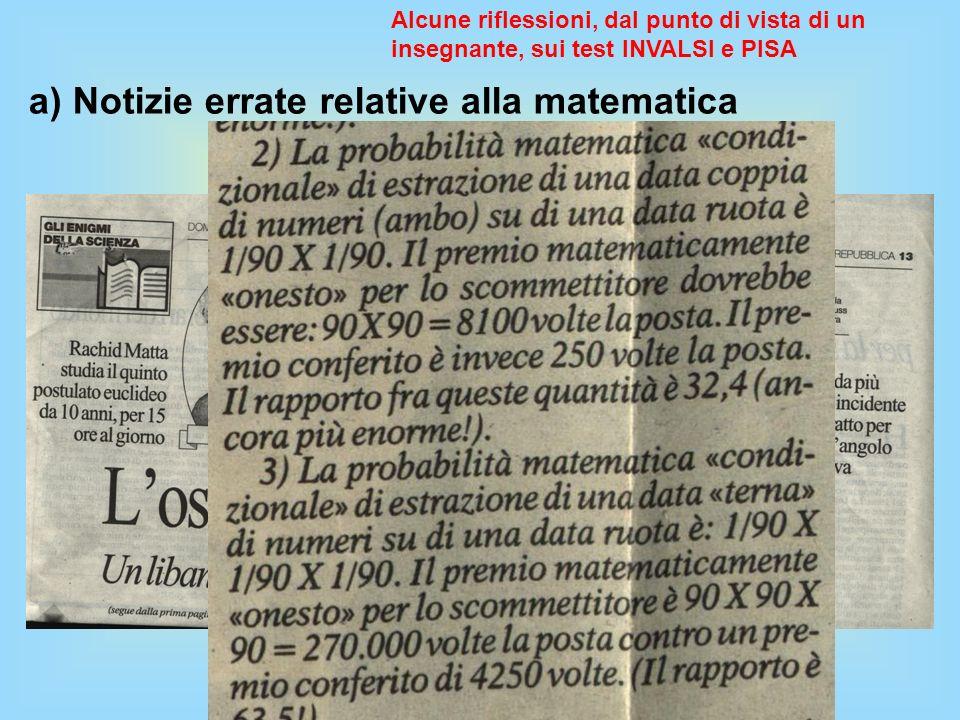 a) Notizie errate relative alla matematica