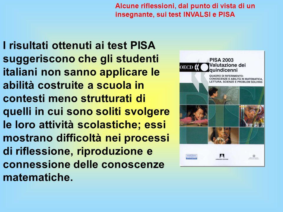 I risultati ottenuti ai test PISA suggeriscono che gli studenti italiani non sanno applicare le abilità costruite a scuola in contesti meno strutturat