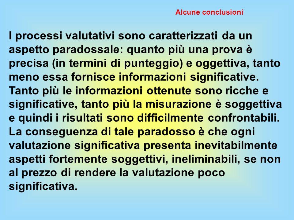 Alcune conclusioni I processi valutativi sono caratterizzati da un aspetto paradossale: quanto più una prova è precisa (in termini di punteggio) e ogg