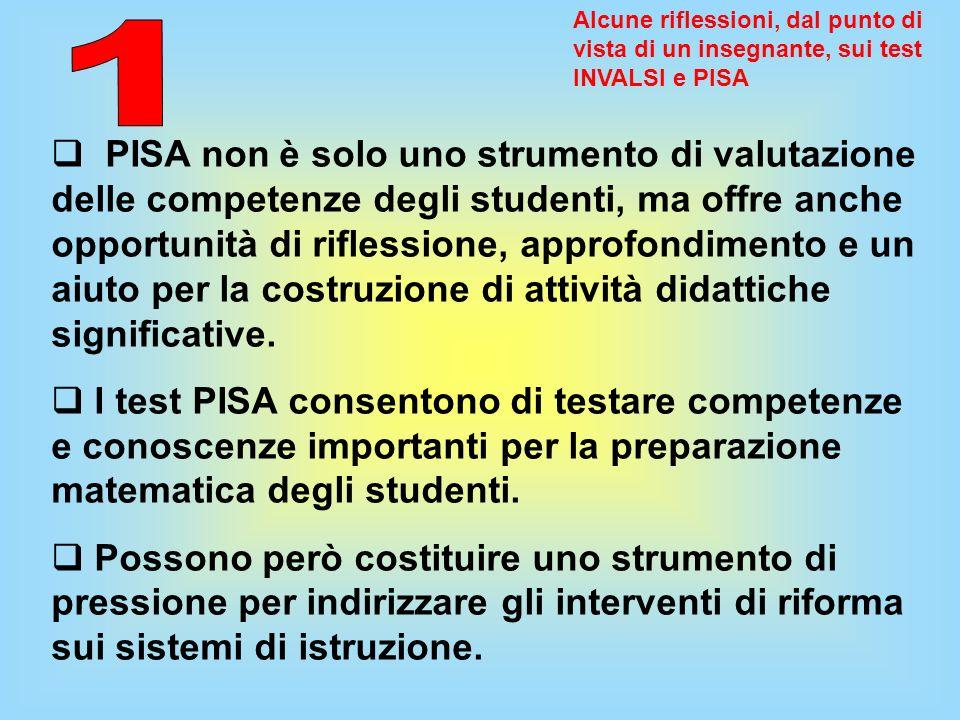 Alcune riflessioni, dal punto di vista di un insegnante, sui test INVALSI e PISA PISA non è solo uno strumento di valutazione delle competenze degli s