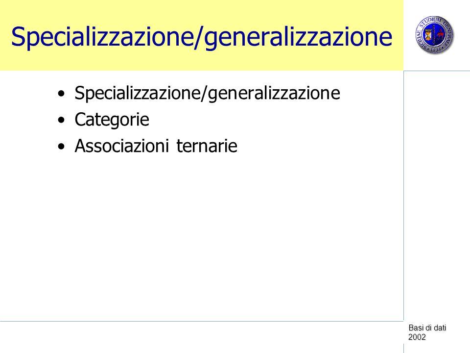 Basi di dati 2002 Specializzazione/generalizzazione Categorie Associazioni ternarie