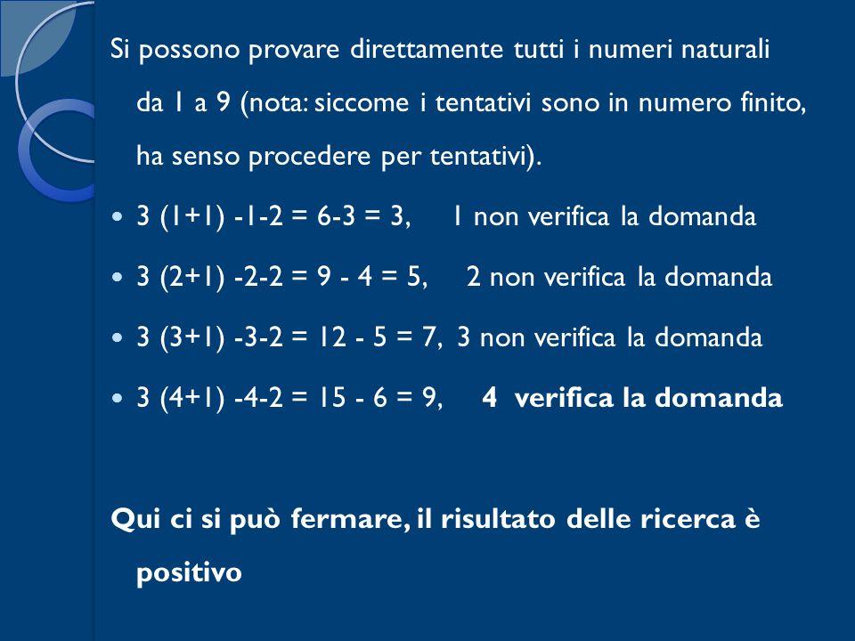 Si possono provare direttamente tutti i numeri naturali da 1 a 9 (nota: siccome i tentativi sono in numero finito, ha senso procedere per tentativi).