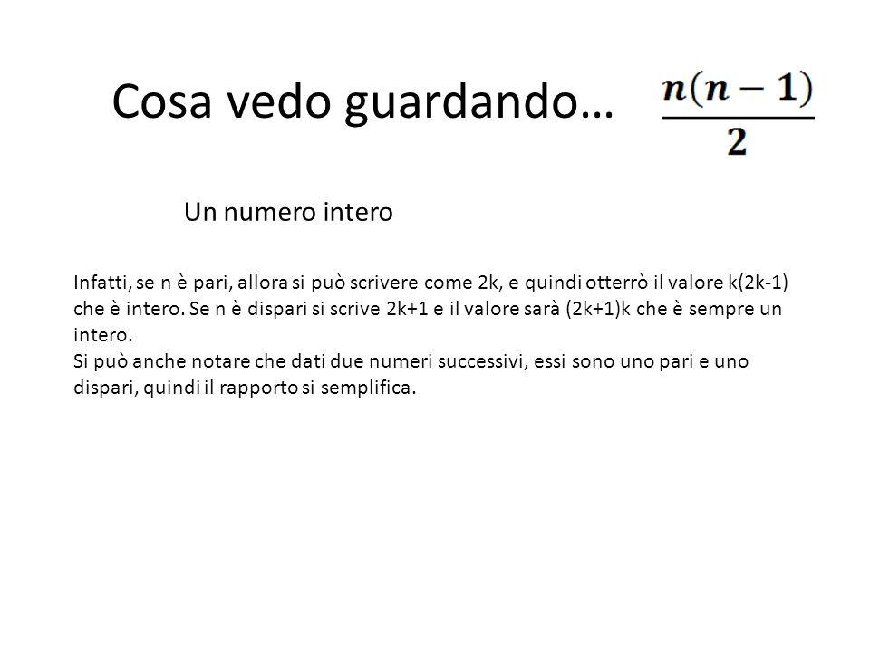 Cosa vedo guardando… Un numero intero Infatti, se n è pari, allora si può scrivere come 2k, e quindi otterrò il valore k(2k-1) che è intero. Se n è di