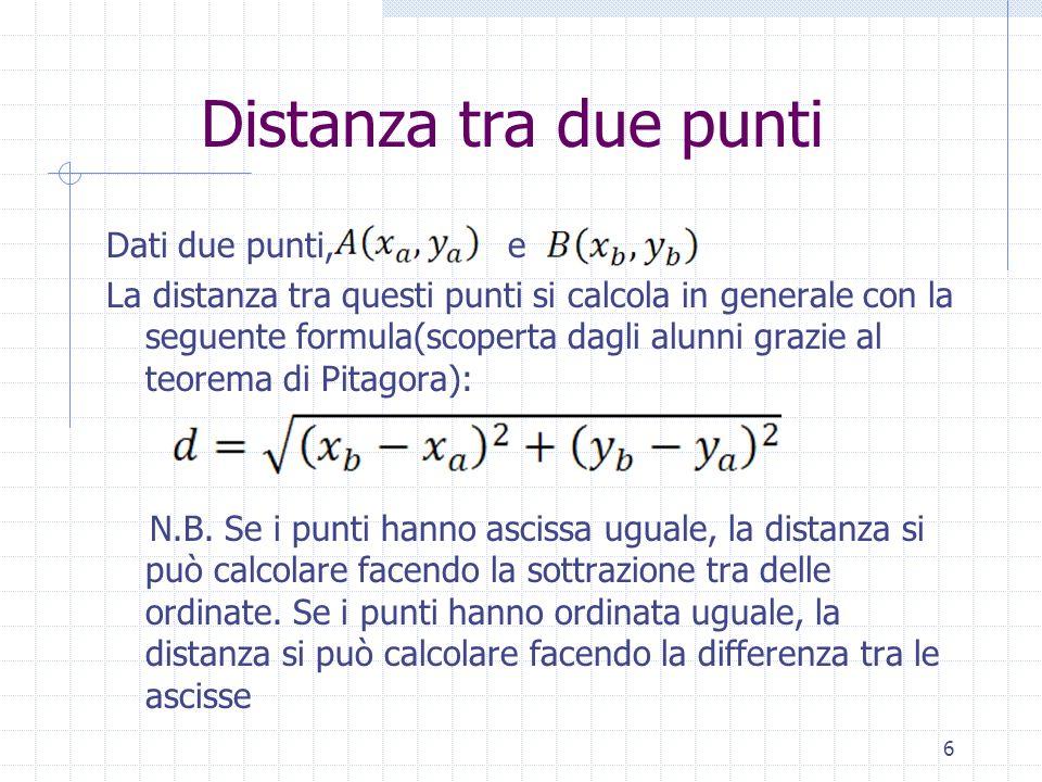 Distanza tra due punti Dati due punti, e La distanza tra questi punti si calcola in generale con la seguente formula(scoperta dagli alunni grazie al t
