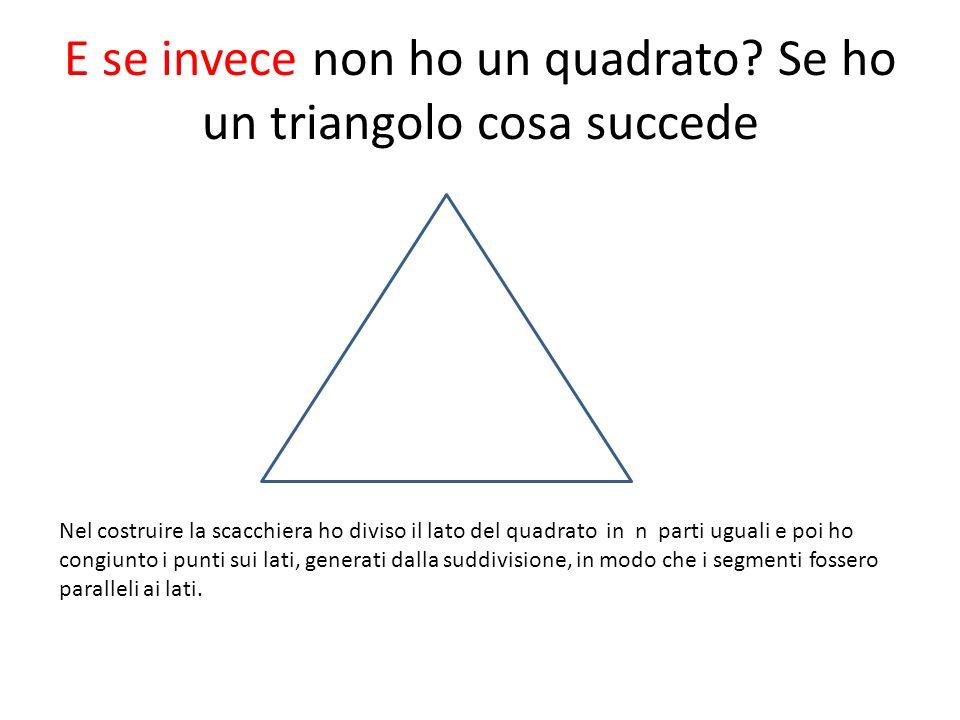 E se invece non ho un quadrato? Se ho un triangolo cosa succede Nel costruire la scacchiera ho diviso il lato del quadrato in n parti uguali e poi ho