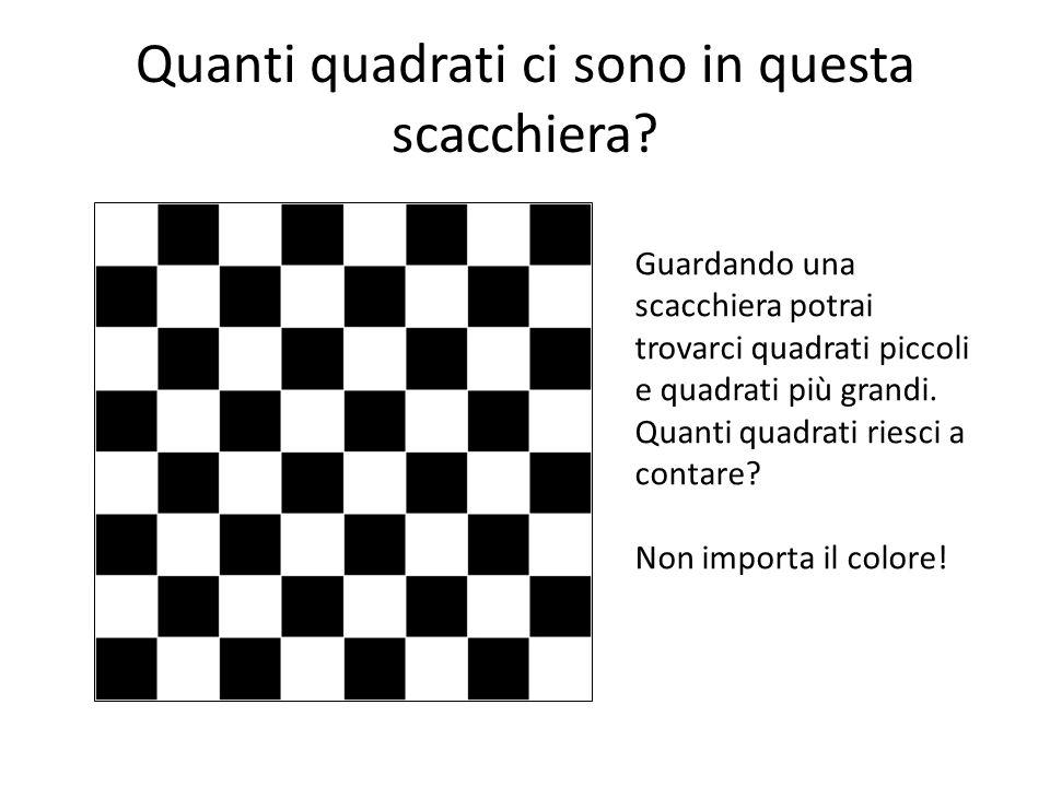 Quanti quadrati ci sono in questa scacchiera? Guardando una scacchiera potrai trovarci quadrati piccoli e quadrati più grandi. Quanti quadrati riesci