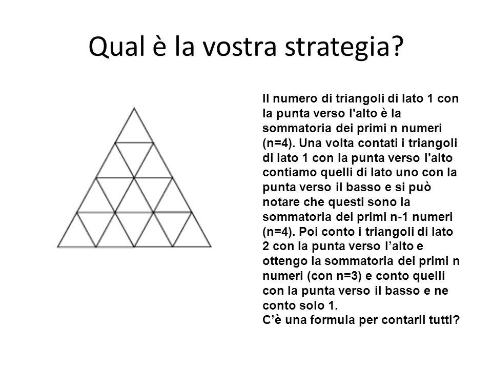 Qual è la vostra strategia? Il numero di triangoli di lato 1 con la punta verso l'alto è la sommatoria dei primi n numeri (n=4). Una volta contati i t