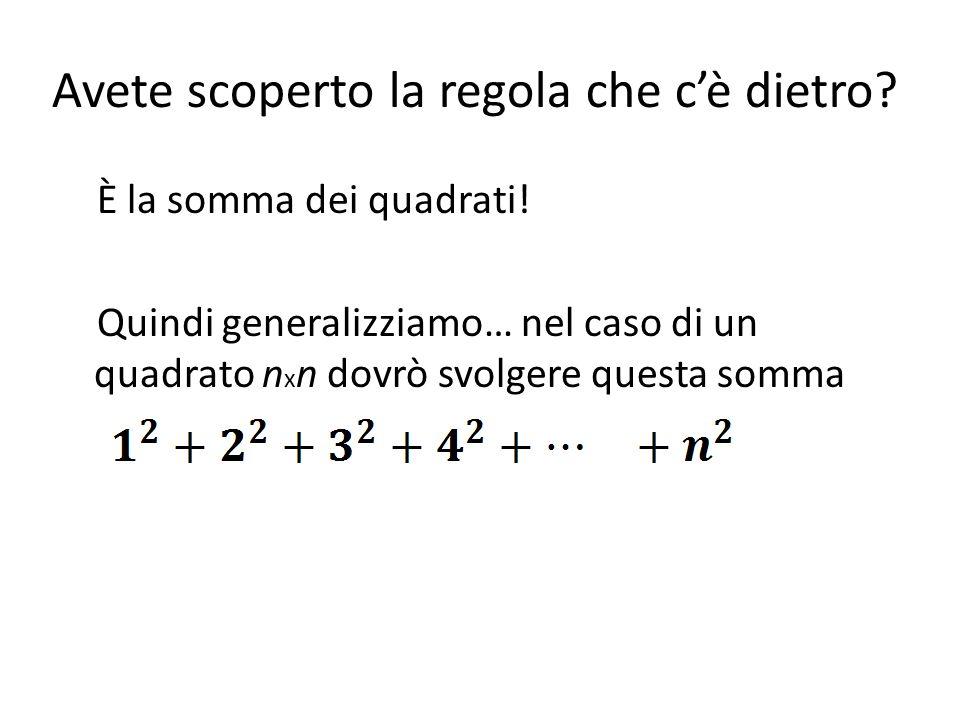 Avete scoperto la regola che cè dietro? È la somma dei quadrati! Quindi generalizziamo… nel caso di un quadrato n x n dovrò svolgere questa somma