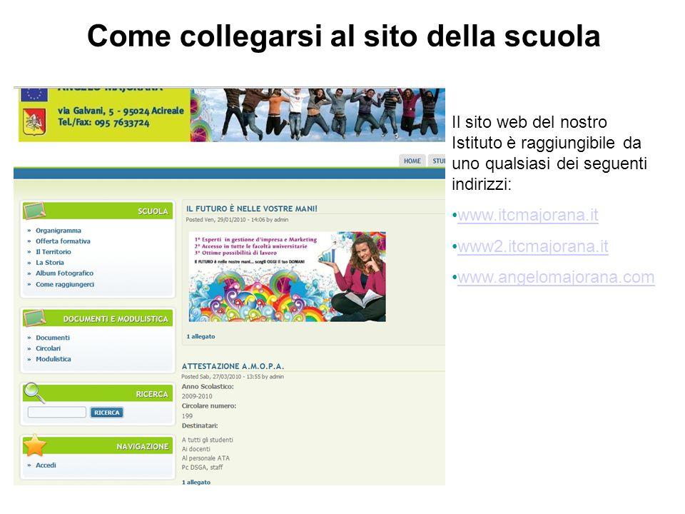 Il sito web del nostro Istituto è raggiungibile da uno qualsiasi dei seguenti indirizzi: www.itcmajorana.it www2.itcmajorana.it www.angelomajorana.com Come collegarsi al sito della scuola