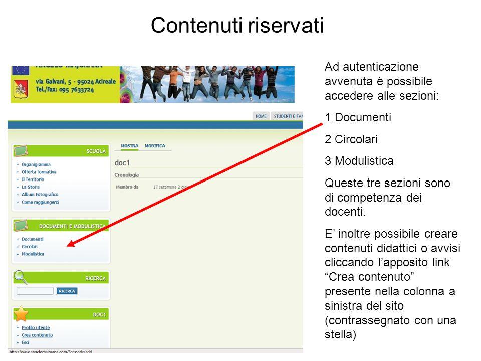 Ad autenticazione avvenuta è possibile accedere alle sezioni: 1 Documenti 2 Circolari 3 Modulistica Queste tre sezioni sono di competenza dei docenti.