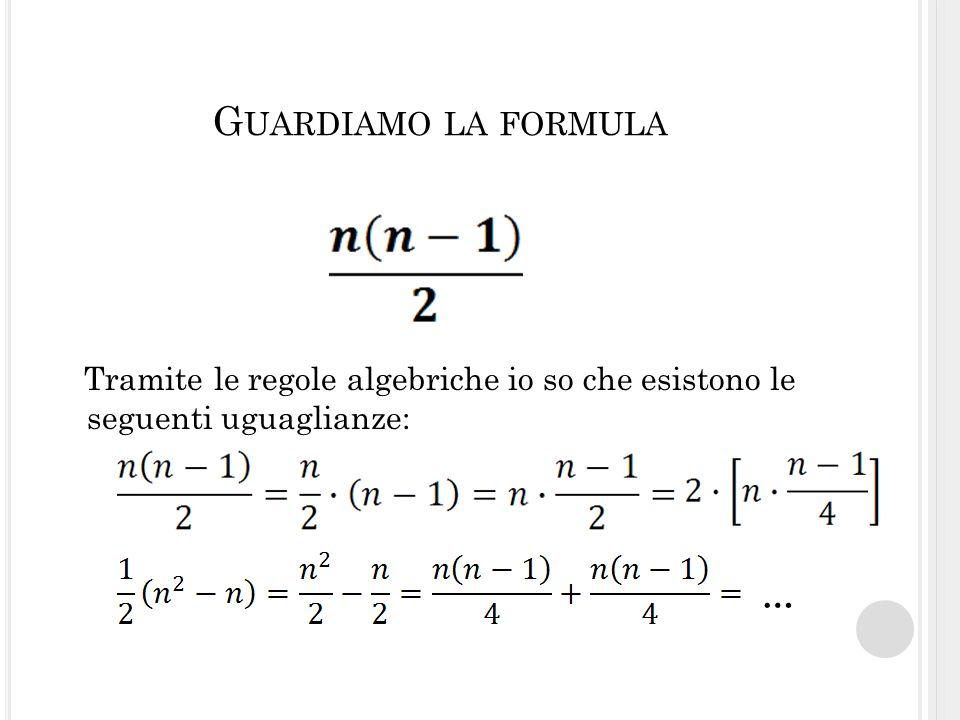 G UARDIAMO LA FORMULA Tramite le regole algebriche io so che esistono le seguenti uguaglianze: …