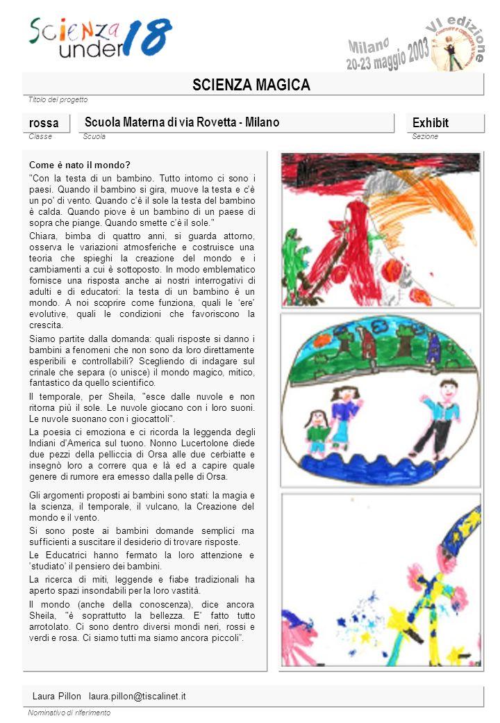 Titolo del progetto Classe ScuolaSezione Nominativo di riferimento SCIENZA MAGICA Scuola Materna di via Rovetta - Milano Come è nato il mondo?