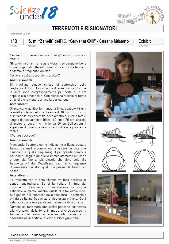 Titolo del progetto Classe ScuolaSezione Nominativo di riferimento S. m. Zanelli dellI.C. Giovanni XXIII - Cusano Milanino 1°B Perché in un terremoto,