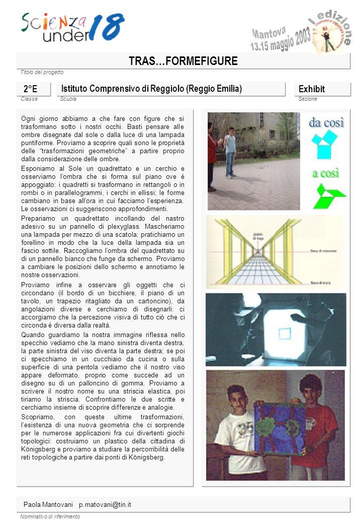 Titolo del progetto Classe ScuolaSezione Nominativo di riferimento TRAS…FORMEFIGURE Istituto Comprensivo di Reggiolo (Reggio Emilia) 2°E Ogni giorno a