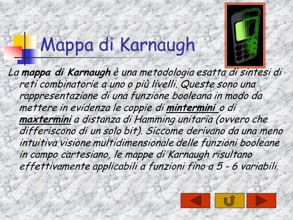 Mappa di Karnaugh La mappa di Karnaugh è una metodologia esatta di sintesi di reti combinatorie a uno o più livelli.
