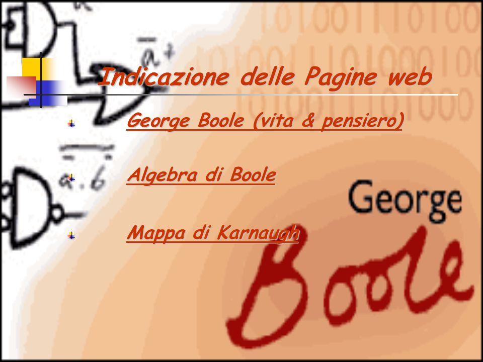 Indicazione delle Pagine web Indicazione delle Pagine web George Boole (vita & pensiero) George Boole (vita & pensiero)George Boole (vita & pensiero)George Boole (vita & pensiero) Algebra di Boole Algebra di BooleAlgebra di BooleAlgebra di Boole Mappa di Karnaugh Mappa di KarnaughMappa di KarnaughMappa di Karnaugh