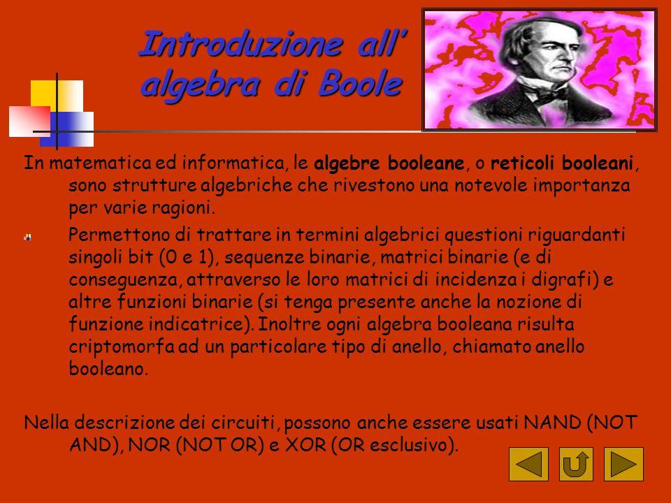 Introduzione all algebra di Boole In matematica ed informatica, le algebre booleane, o reticoli booleani, sono strutture algebriche che rivestono una notevole importanza per varie ragioni.