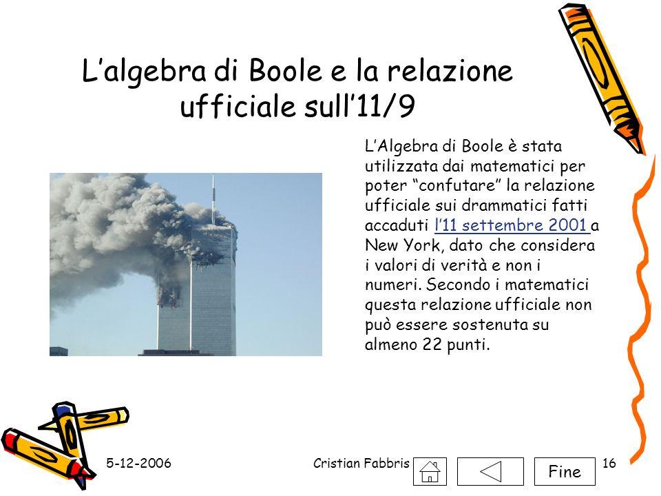 5-12-2006Cristian Fabbris16 Lalgebra di Boole e la relazione ufficiale sull11/9 LAlgebra di Boole è stata utilizzata dai matematici per poter confutar