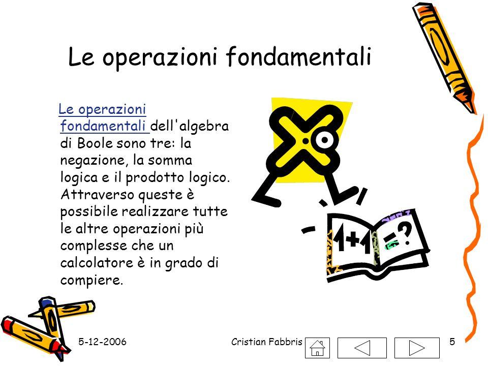 5-12-2006Cristian Fabbris5 Le operazioni fondamentali Le operazioni fondamentali dell'algebra di Boole sono tre: la negazione, la somma logica e il pr