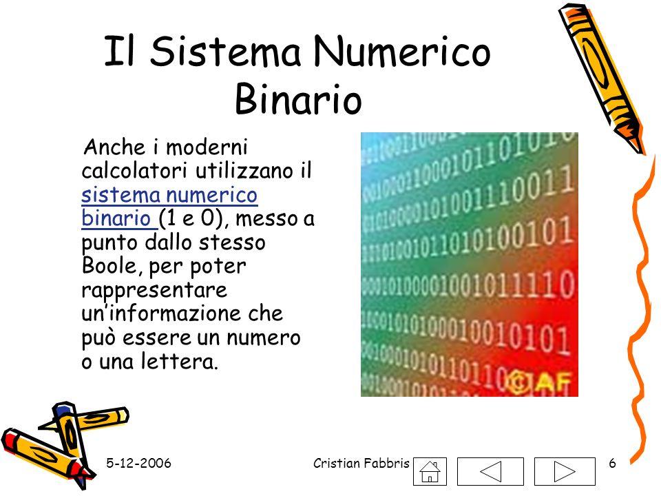 5-12-2006Cristian Fabbris6 Il Sistema Numerico Binario Anche i moderni calcolatori utilizzano il sistema numerico binario (1 e 0), messo a punto dallo