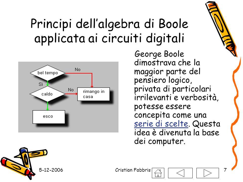 5-12-2006Cristian Fabbris7 Principi dellalgebra di Boole applicata ai circuiti digitali George Boole dimostrava che la maggior parte del pensiero logi