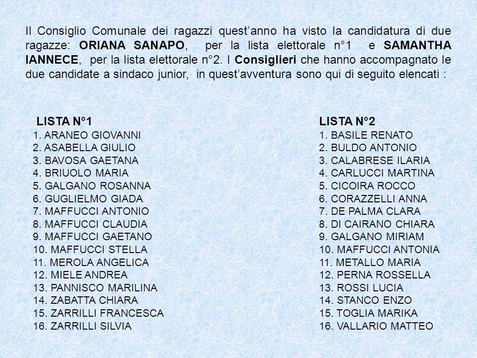 Il Consiglio Comunale dei ragazzi questanno ha visto la candidatura di due ragazze: ORIANA SANAPO, per la lista elettorale n°1 e SAMANTHA IANNECE, per