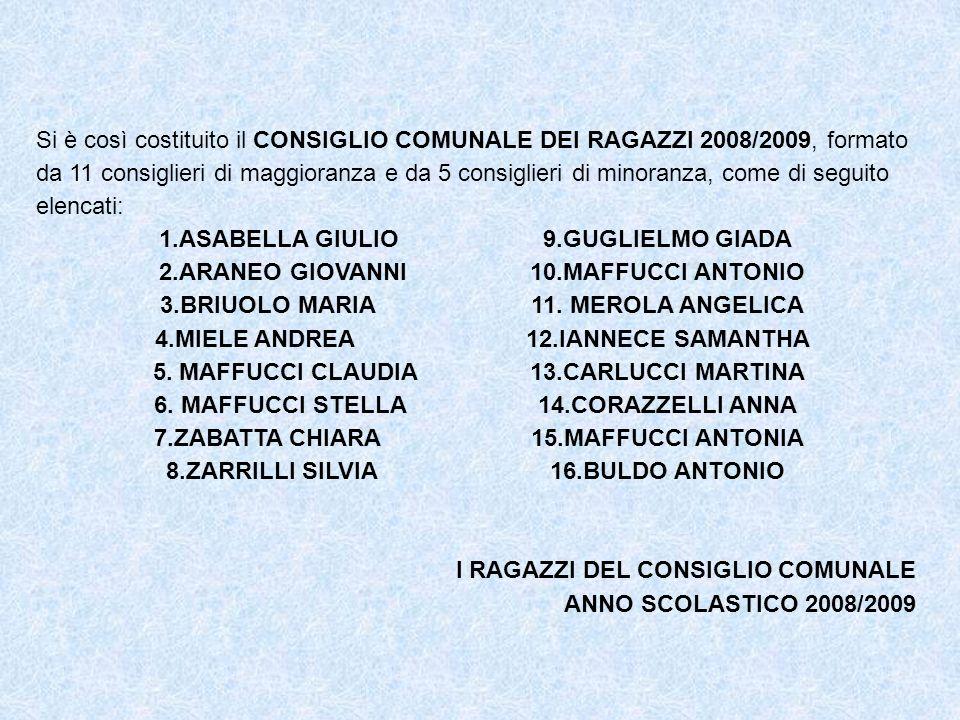Si è così costituito il CONSIGLIO COMUNALE DEI RAGAZZI 2008/2009, formato da 11 consiglieri di maggioranza e da 5 consiglieri di minoranza, come di se