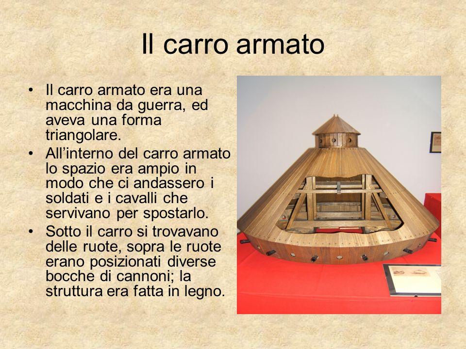 Il carro armato Il carro armato era una macchina da guerra, ed aveva una forma triangolare. Allinterno del carro armato lo spazio era ampio in modo ch