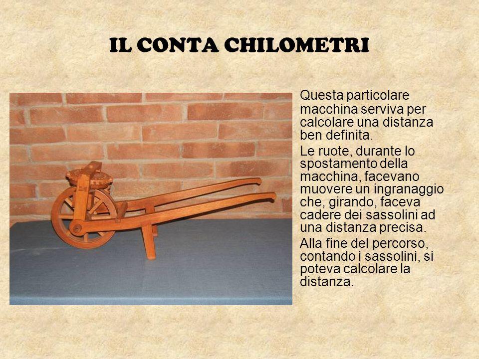 IL CONTA CHILOMETRI Questa particolare macchina serviva per calcolare una distanza ben definita. Le ruote, durante lo spostamento della macchina, face