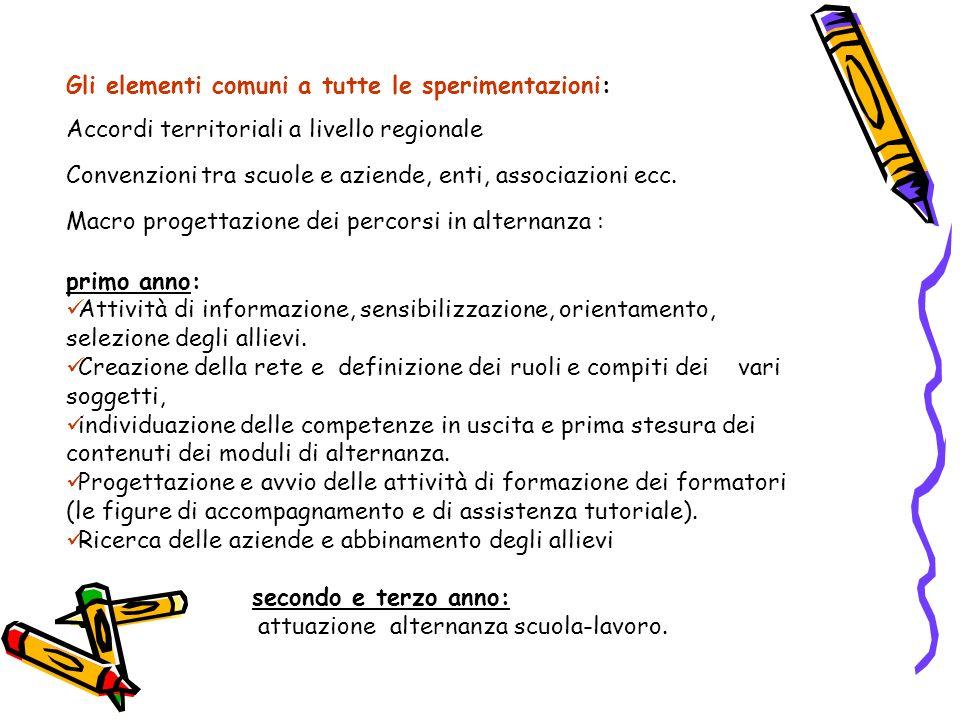 Gli elementi comuni a tutte le sperimentazioni: Accordi territoriali a livello regionale Convenzioni tra scuole e aziende, enti, associazioni ecc. Mac