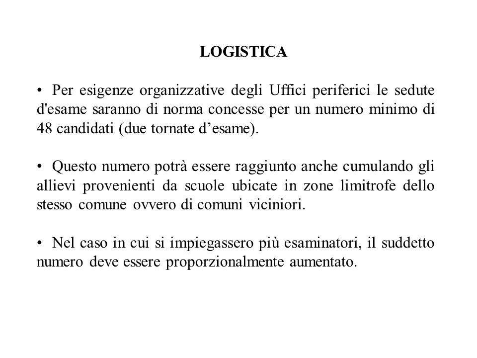 LOGISTICA Per esigenze organizzative degli Uffici periferici le sedute d'esame saranno di norma concesse per un numero minimo di 48 candidati (due tor