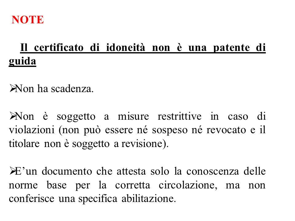 NOTE Il certificato di idoneità non è una patente di guida Non ha scadenza.