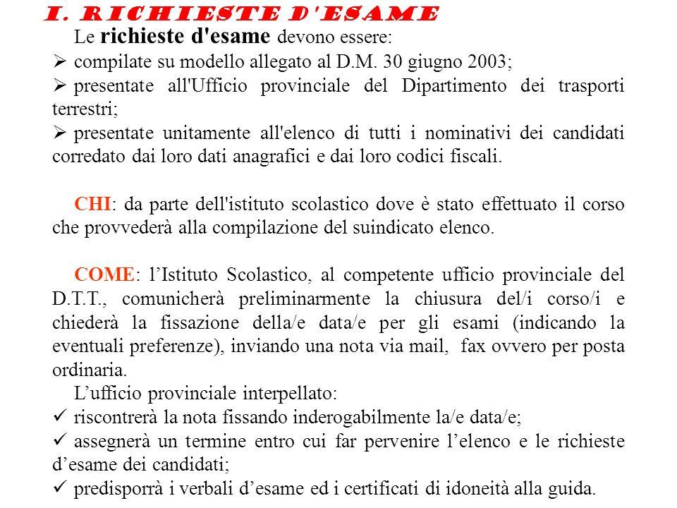 I.Richieste d esame Le richieste d esame devono essere: compilate su modello allegato al D.M.
