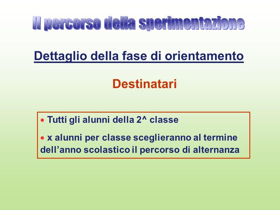 Dettaglio della fase di orientamento Tutti gli alunni della 2^ classe x alunni per classe sceglieranno al termine dellanno scolastico il percorso di a