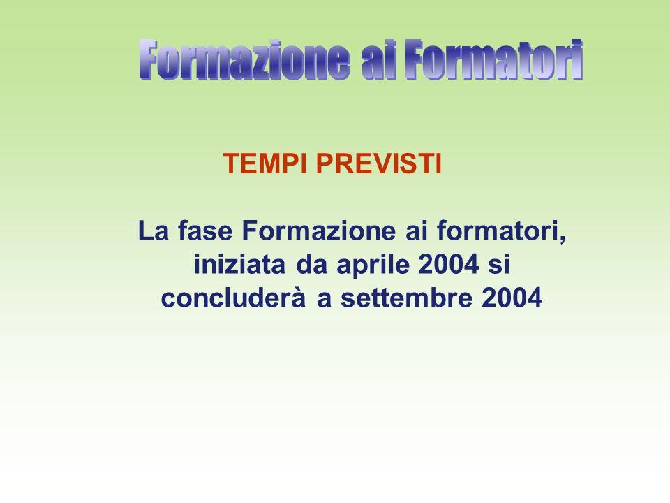 TEMPI PREVISTI La fase Formazione ai formatori, iniziata da aprile 2004 si concluderà a settembre 2004