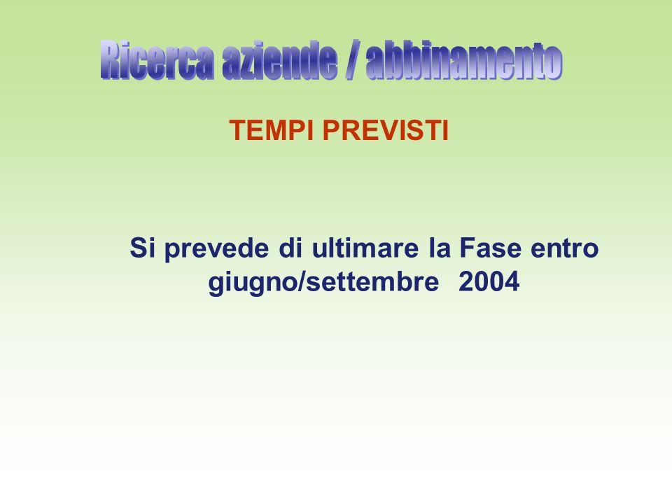 TEMPI PREVISTI Si prevede di ultimare la Fase entro giugno/settembre 2004