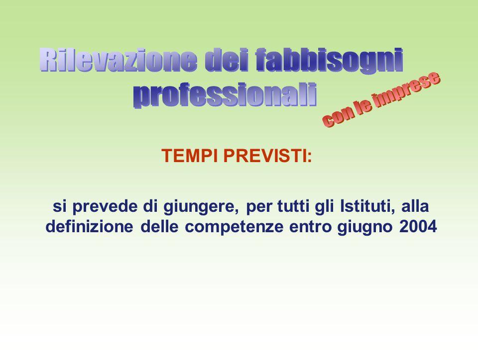 TEMPI PREVISTI: si prevede di giungere, per tutti gli Istituti, alla definizione delle competenze entro giugno 2004