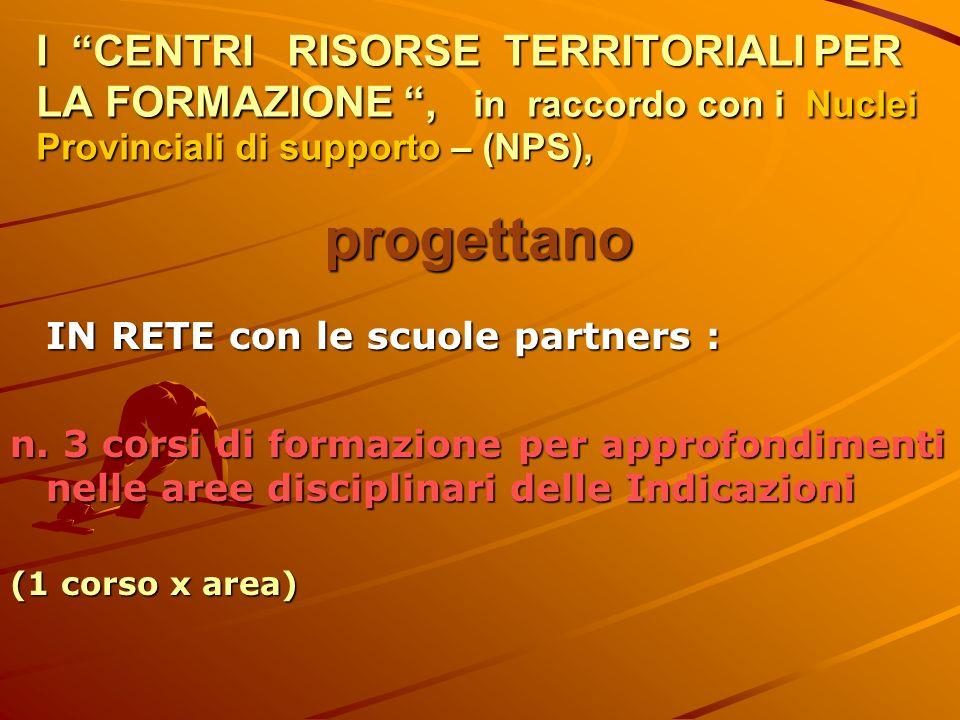 I CENTRI RISORSE TERRITORIALI PER LA FORMAZIONE, in raccordo con i Nuclei Provinciali di supporto – (NPS), progettano IN RETE con le scuole partners : n.